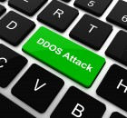 DDOS Attack on Red Button on Black Computer Keyboard.
